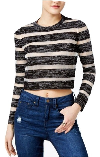 GUESS Amara Striped Crop Top Jet Black Multi M