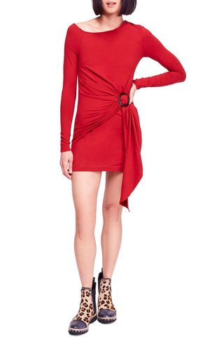 Free People Women's Musics Lyrics Printed Mini Long Sleeve Dress Red Combo S