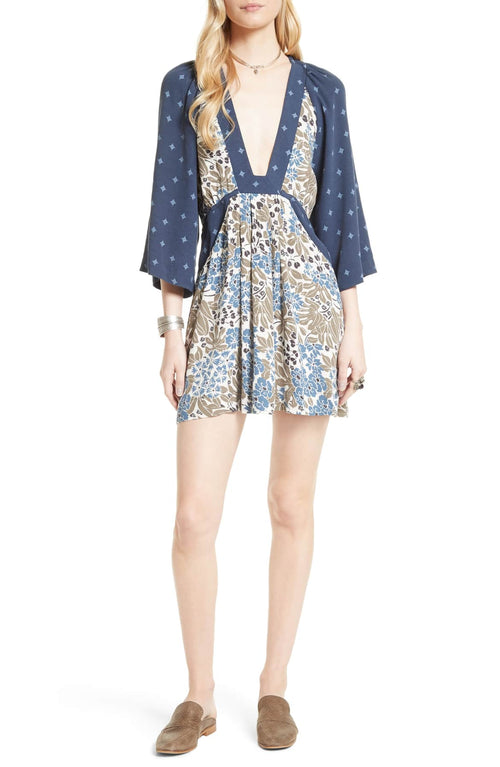 Free People Mixed-Print Mini Dress Blue Combo S