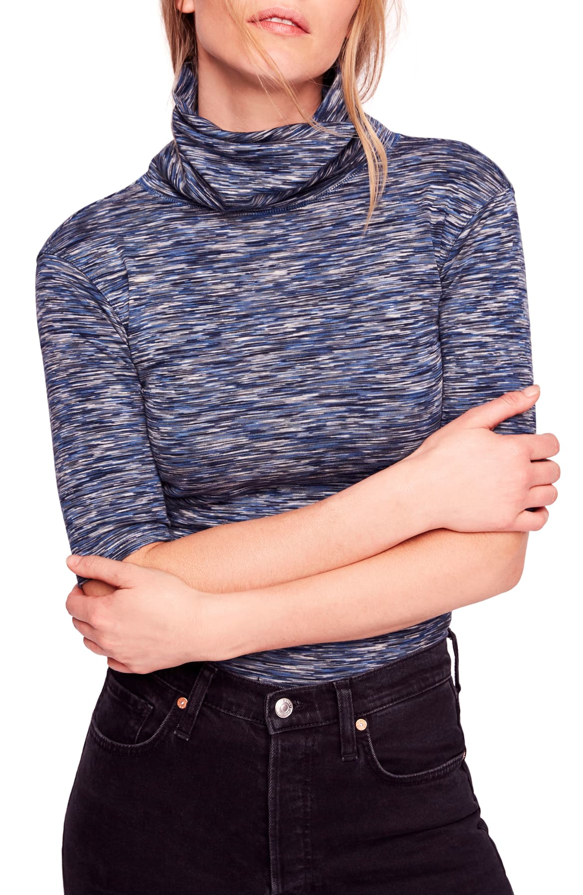 Free People Sunshine Space-Dyed Turtleneck Blue XS - Gear Relapse