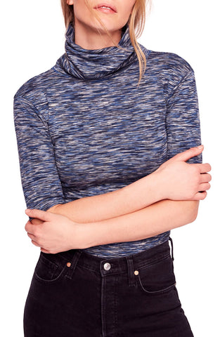 Aqua Contrast Knit Sweater Grey M