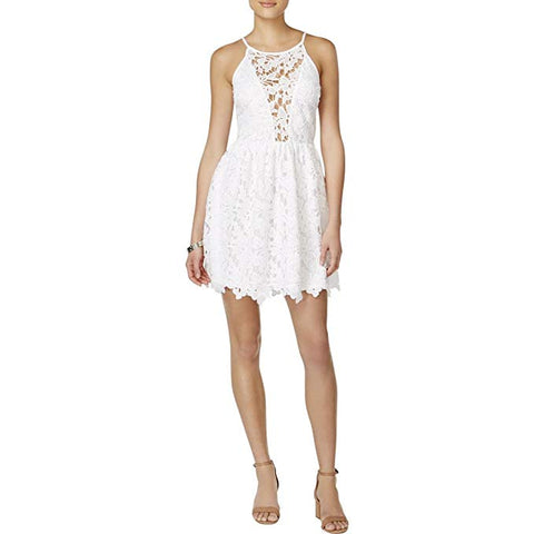 Bar III Women's Off-The-Shoulder Lace Dress Bright White S