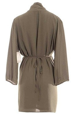Bar III Long-Sleeve Surplice-Neck Solid Shirtdress Dusty Olive XS