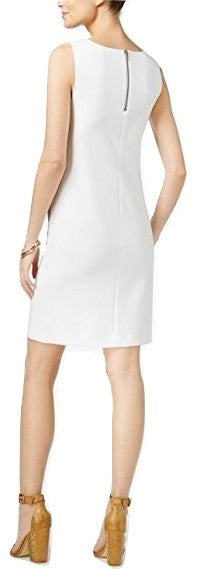 Bar III Sleeveless Colorblocked Dress Washed White M