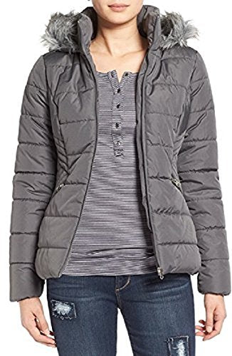 Krush Faux-Fur-Trim Puffer Quilted Jacket Charcoal M