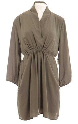 Bar III Long-Sleeve Surplice-Neck Solid Shirtdress Dusty Olive XS - Gear Relapse