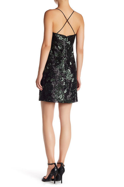 Vera Wang Women's Lavender Sequin Cocktail Dress Black 14