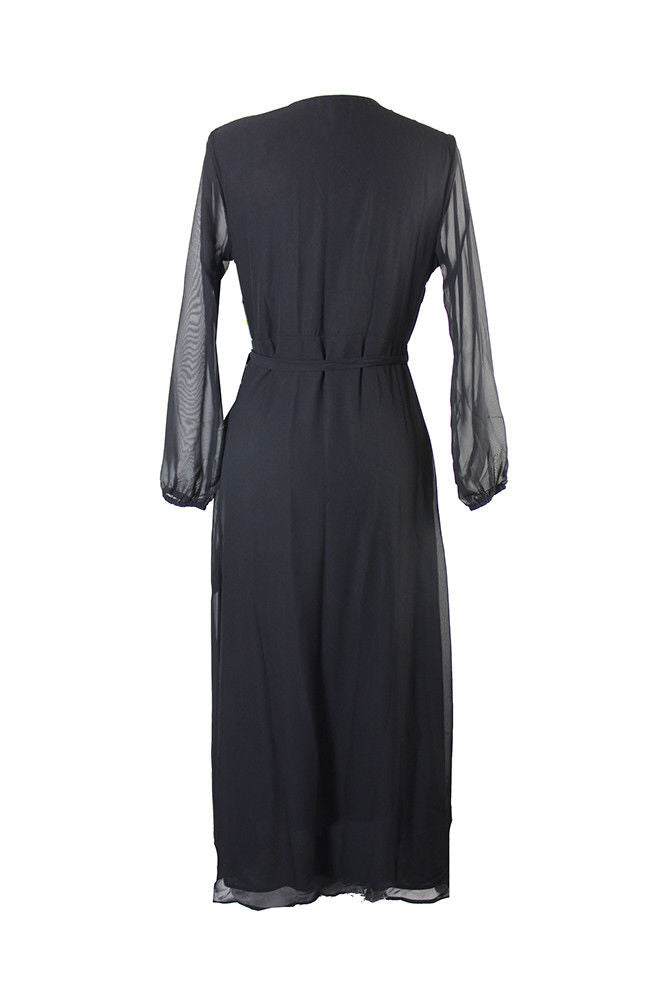 Bar III Wrap Maxi Dress Deep Black - Gear Relapse