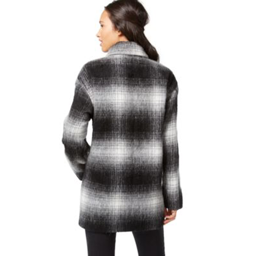 Wildflower Plaid Double-Breasted Peacoat Black Combo S