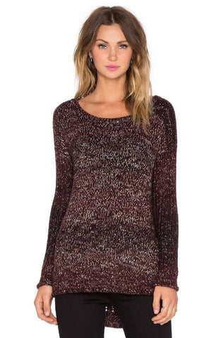 1.STATE Women's Cotton Crewneck Textured-Sleeves Dark Oxblood L