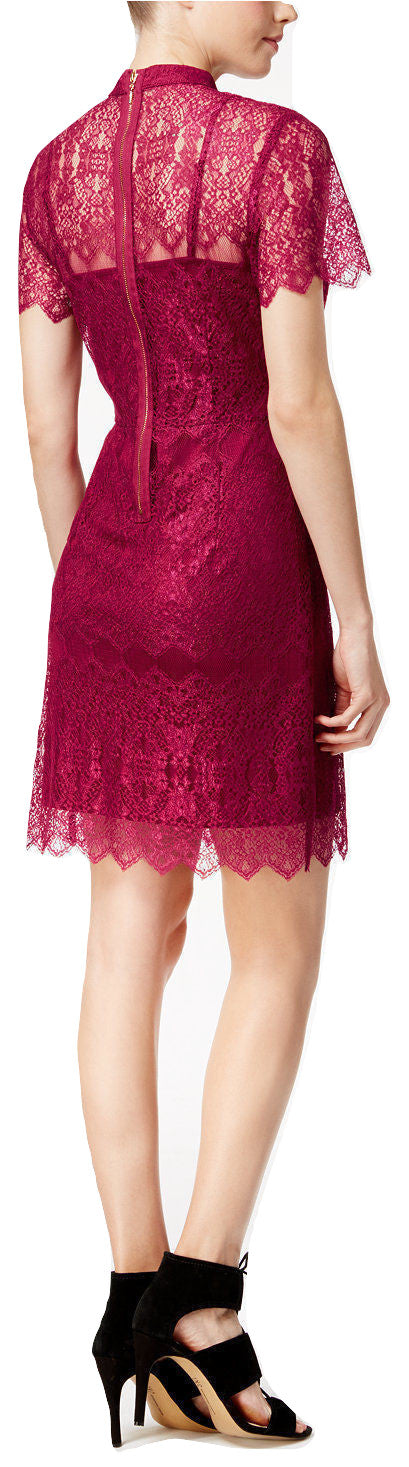 kensie Short-Sleeve Lace Dress Rasberry Wine S