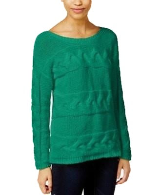Bar III Long Sleeve Cable-Knit Sweater Green M - Gear Relapse