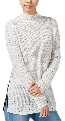 Bar III Faux-Leather-Trim Mock-Neck Sweater Washed White Combo M