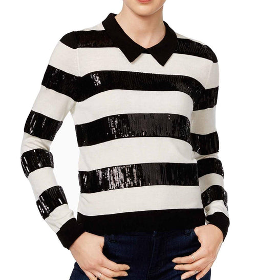 Maison Jules Sequined Striped Sweater Black Combo L