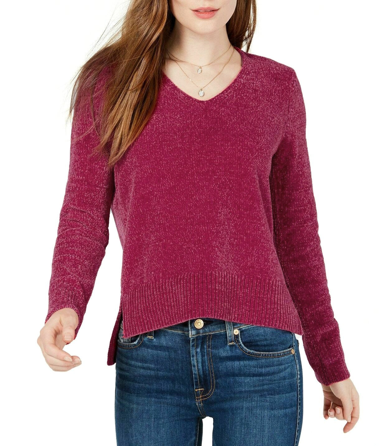 Maison Jules Women's V-Neck Long Sleeve Chenille Sweater