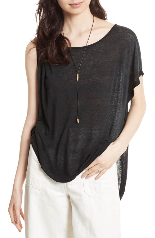 Free People Pluto One-Shoulder T-Shirt Black