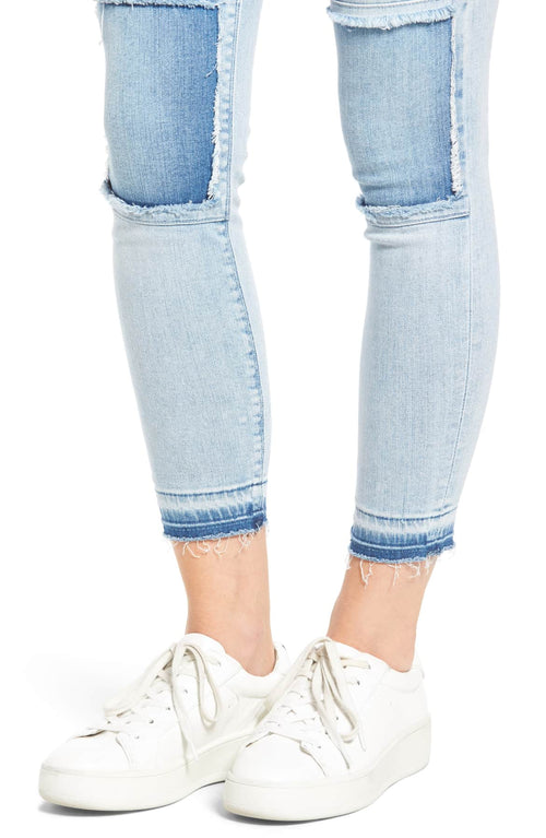 Hudson Women's Szzi Mid Rise Patched Skinny Jeans Light Blue 29
