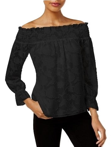Bar III Textured Off-The-Shoulder Top Deep Black - Gear Relapse