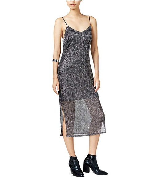 Bar III V-Neck Slip Cocktail Dress Silver Grey M