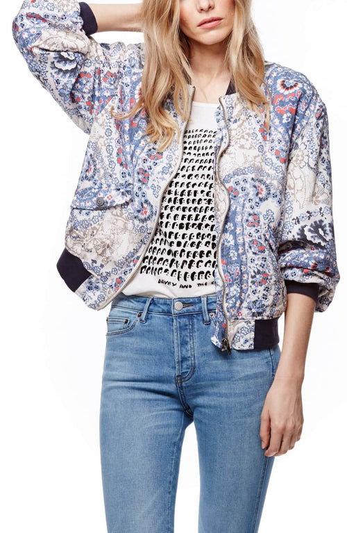 Free People Daytrip Printed Bomber Jacket Navy L