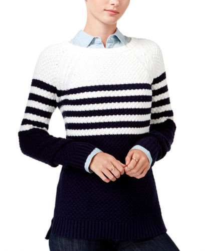 Maison Jules Striped Cross-Stitch Sweater Egret Combo S