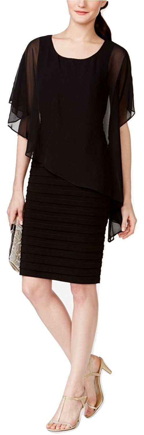 B&A by Betsy and Adam Chiffon Capelet Sheath Dress Black 6 - Gear Relapse