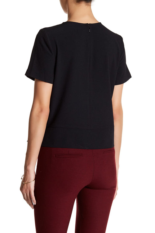 kensie Women's Knot-Detail Crepe Top Black L