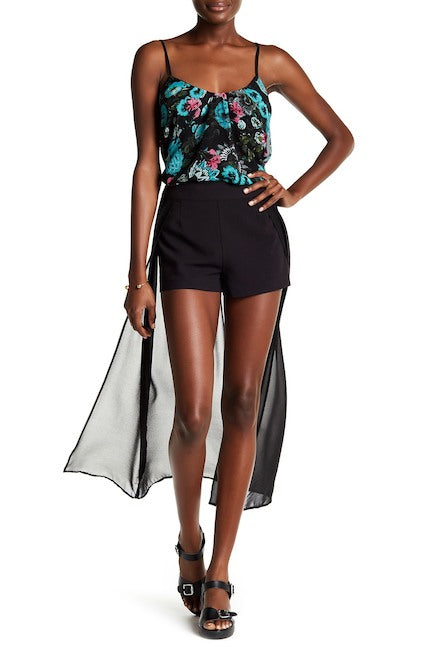 kensie Stretch Crepe Layered Shorts Black M