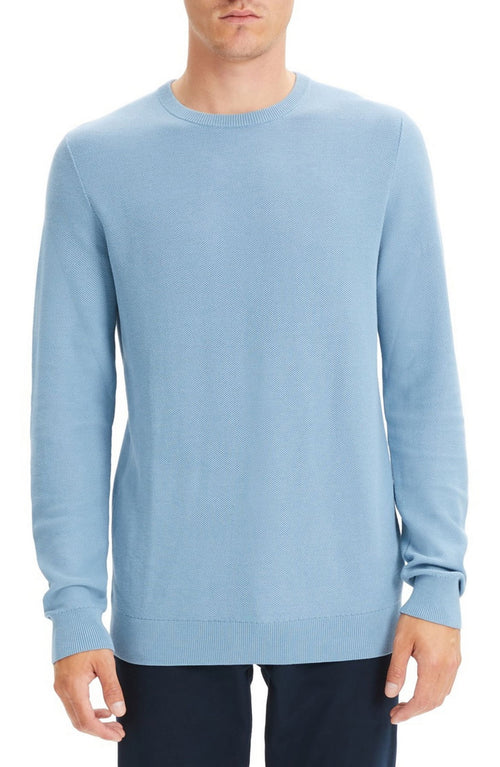 Theory Riland Pique Breach Crewneck Sweater Blue S