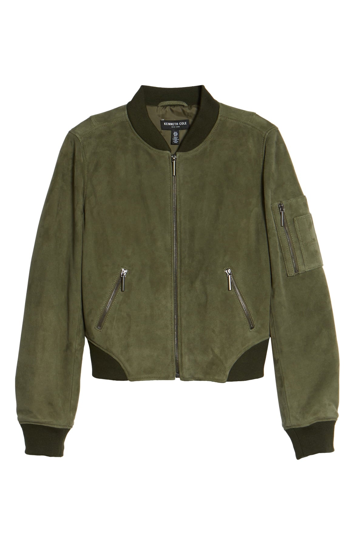 KENNETH COLE NEW YORK Crop Suede Bomber Jacket Green Grove L