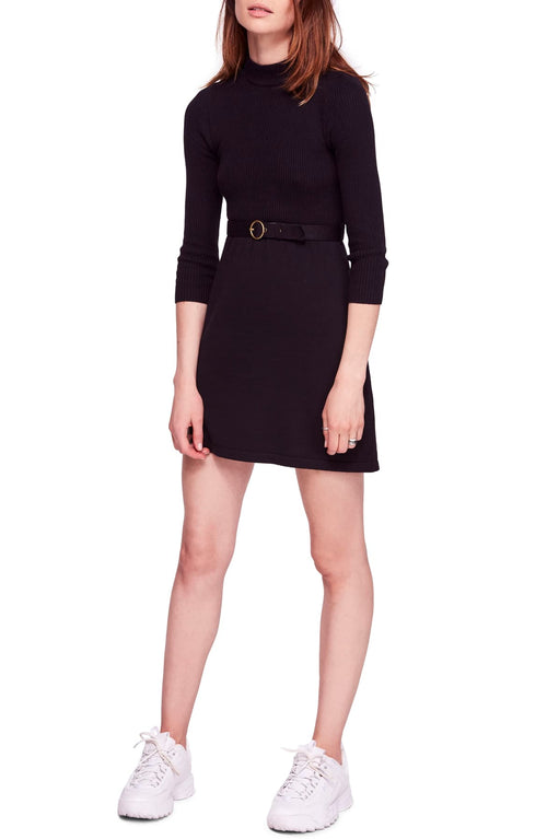 Free People French Girl Contrast Mini Dress Black S - Gear Relapse