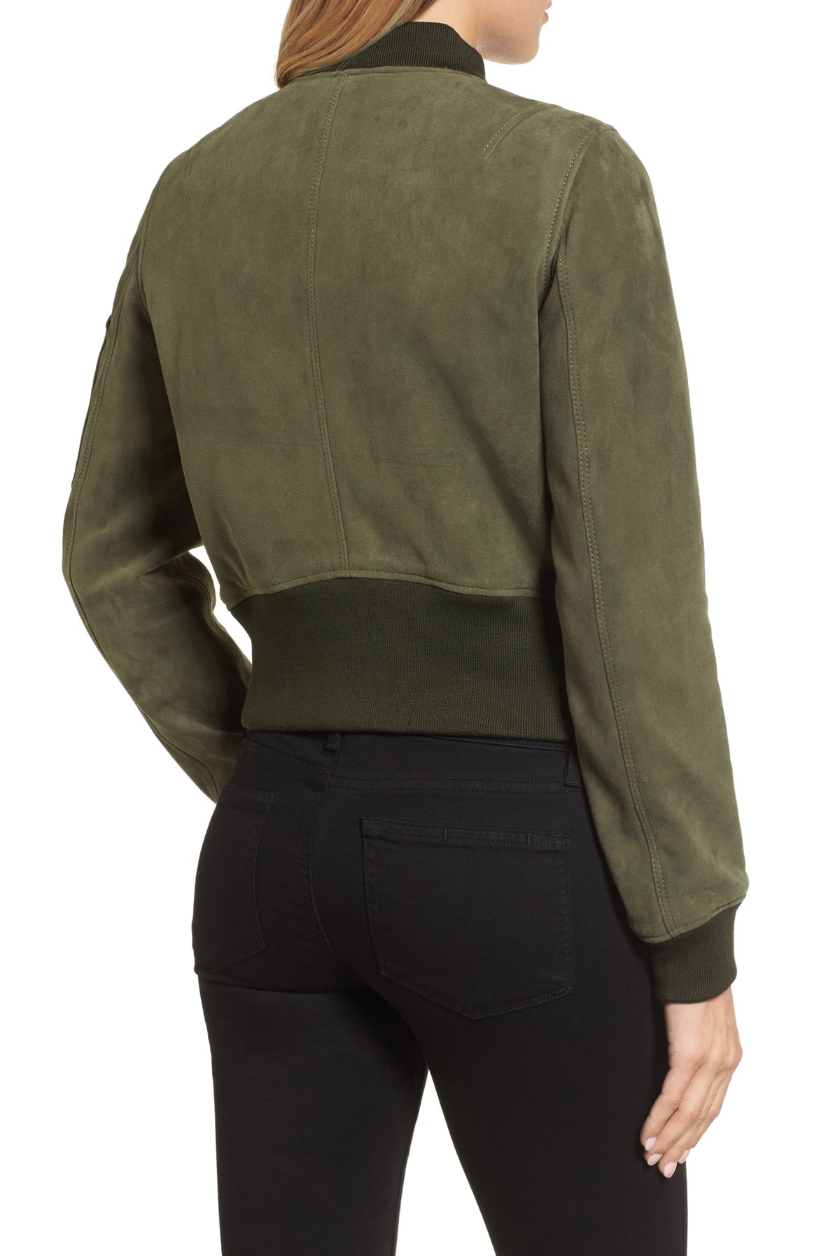KENNETH COLE NEW YORK Women's Crop Suede Bomber Jacket Green Grove L