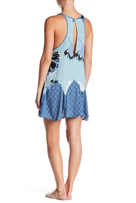 Free People Someone Like You Printed Slip Dress Blue - Gear Relapse