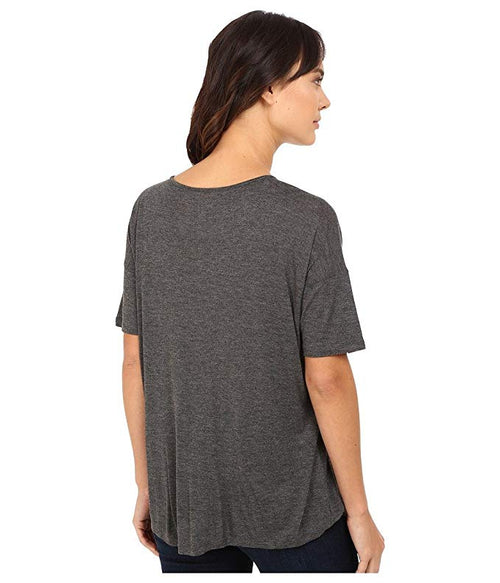 Kensie Women's Crossover Asymmetrical-Hem Top Heather Dark Grey L