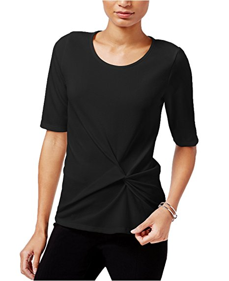 Bar III Knot-Front Elbow-Sleeve Top