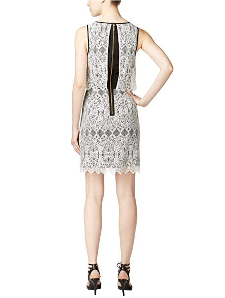 Kensie Go Layered Lace Dress Ivory Combo M