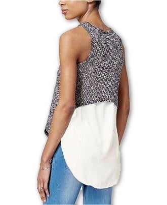 Bar III Melange-Knit Sleeveless Tank Top Black Combo XXS