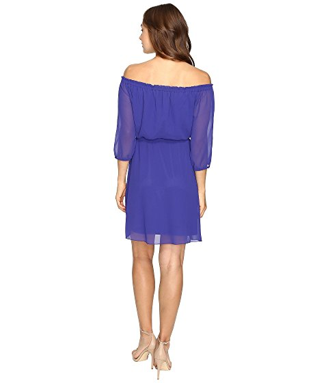 kensie Women's Off-The-Shoulder Drawstring Dress Electric Purple S