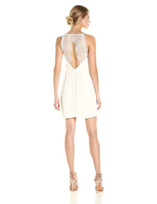 Kensie Cutout Lace-Contrast Dress French Vanilla