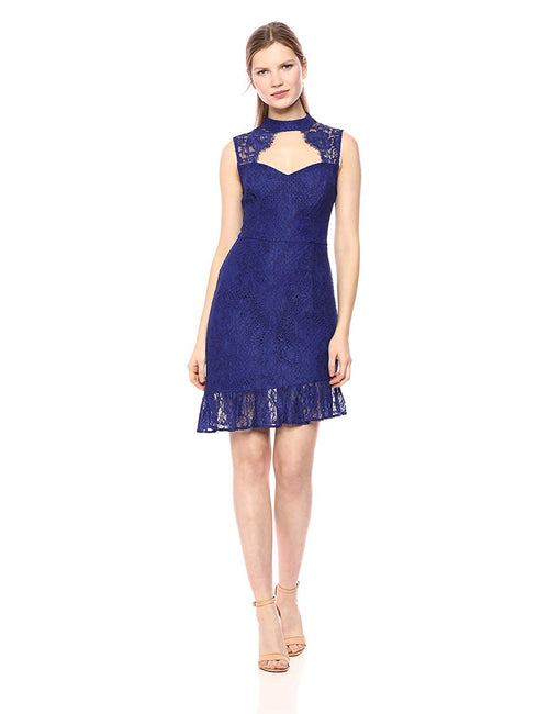 GUESS Brandie Cutout Lace Dress Blue Iris Multi - Gear Relapse