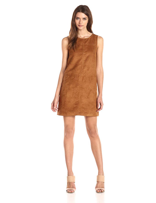 Sanctuary Women's Village Faux Suede Shift Dress Maple XS