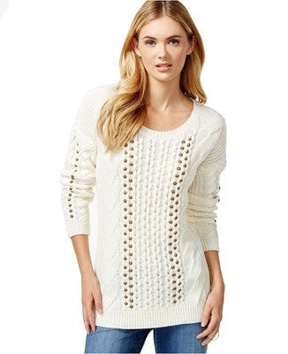 Bar Ill Embellished Cable-Knit Sweater Arctic White