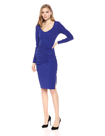 B Michael Textured High-Low A-Line Dress Royal Blue 8