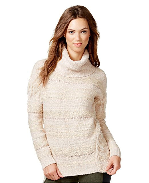 Kensie Women's Fringe Marled Turtleneck Long Sleeve Sweater Dune Combo