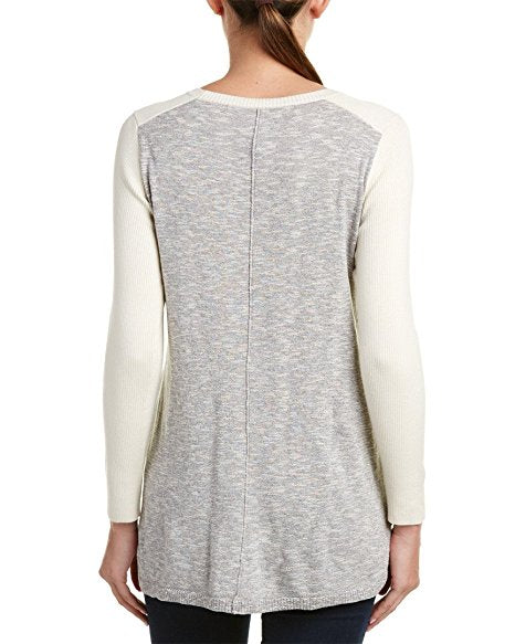 kensie High-Low Colorblocked Sweater Grey Multi M