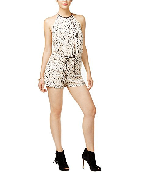 Guess Grayson Animal Print Sleeveless Romper Beige Combo XL