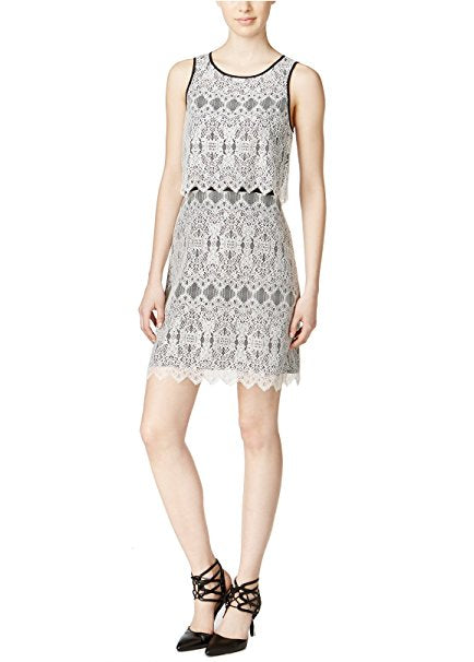 Kensie Women's Layered Lace Dress Ivory Combo M