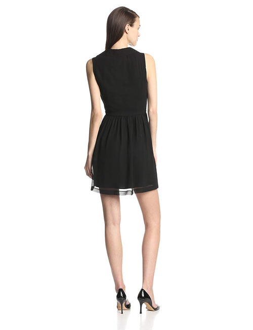 kensie Sleeveless V-Neck A-Line Dress Black L