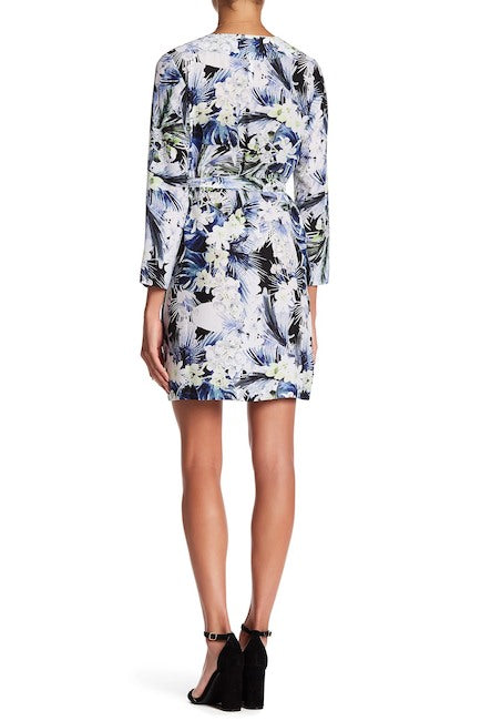 Kensie Belted Floral Kimono Dress Dark Sapphire Combo M