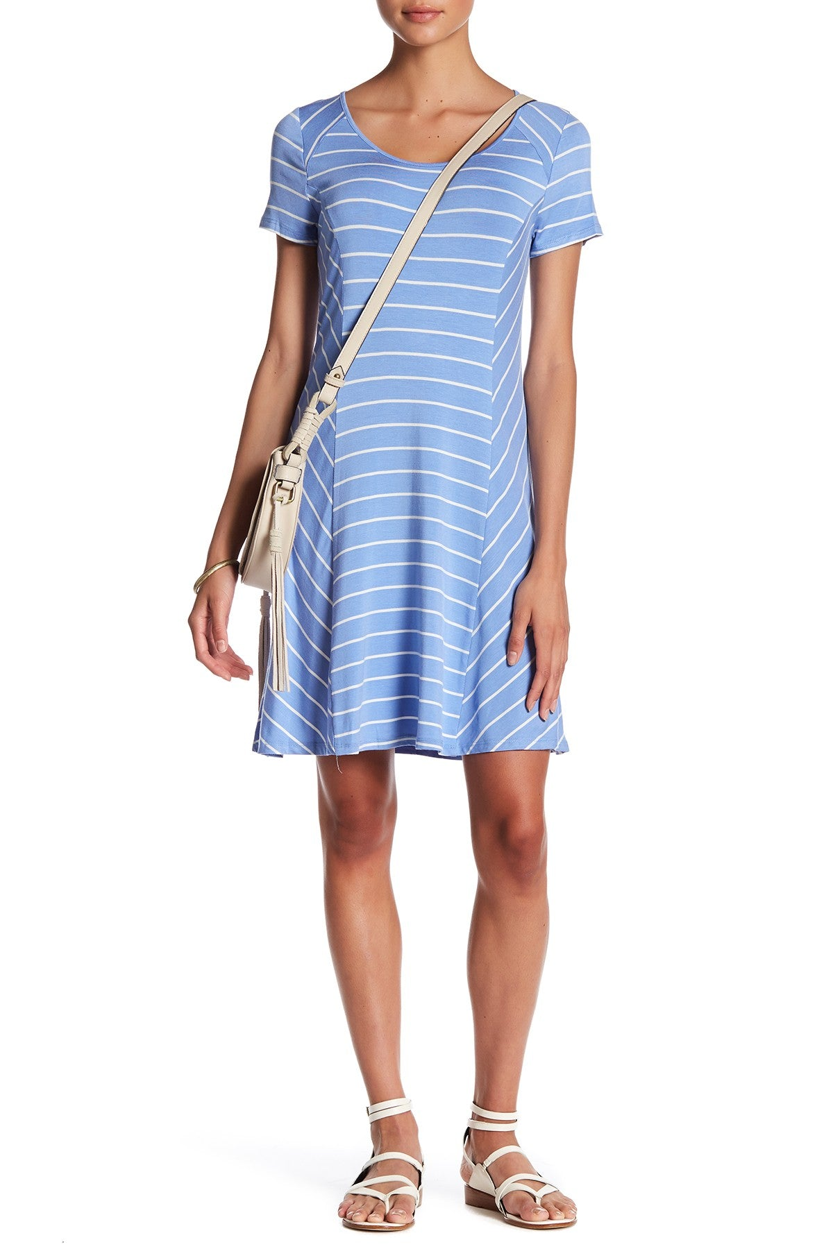 Kensie Women's Paneled Striped T-Shirt Dress Perriwinkle Combo L